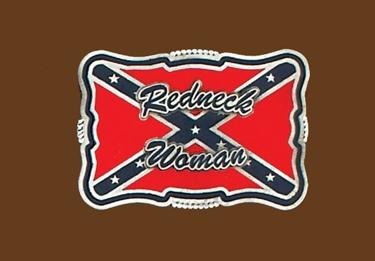 Redneck Woman (red/navy) Belt Buckle 3-1/2 x 2-1/4