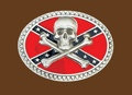 Skull & crossbones on Rebel flag Pewter Belt Buckle 3-3/4 x 3