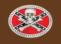 Skull & crossbones on Rebel flag Pewter Belt Buckle 3-3/4 x 3