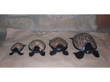 Set Of 4 Wooden Turtles Designer Turtle W Eggshells