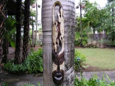 Primitive Tiki Mask Gecko Headdress 40 Inch Tribal Decor