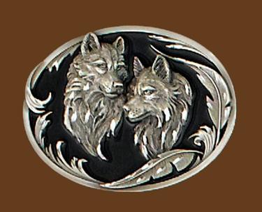 Wolf Heads Belt Buckle Diamond Cut 3-1/4 x 2-1/2