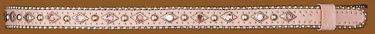 Hatband/Pink w/silver beaded edge & rhinestones