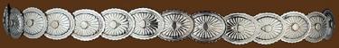Elastic Concho Hatband Shiny Silver Finish