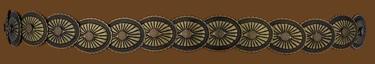 Elastic Concho Hatband Antique Brass Finish