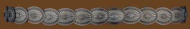 Elastic Concho Hatband Antique Silver Finish