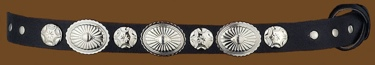 Black Hatband with Silver Conchos