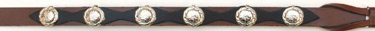 Black & Brown Leather Hatband with Oval Conchos
