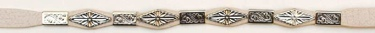 Gray Leather Hatband with diamond & rectangular conchos
