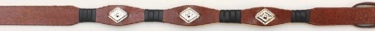 Black & Brown Leather Hatband with 3 Diamond Conchos