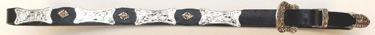Black Leather Hatband with Large & Small conchos - with Buckle