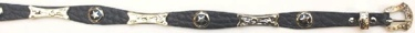 Black Leather Hatband with Stars & Conchos - with buckle