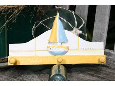 Sailboat Hanger 12 White Yellow Nautical Decor