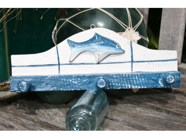 Ocean Fish Hanger 12 White Blue Nautical Decor