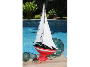 Sailboat Red Coastal 16 Nautical Decor