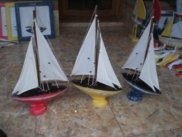Sailboat Yellow Coastal 20 Hand Carved Nautical Decor