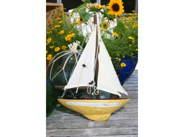 Sailboat Wall Hanging Yellow Coastal 12 Nautical Decor