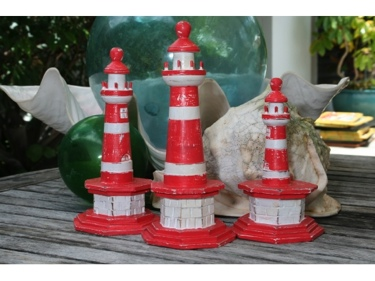 Set Of 3 Lighthouses Rustic Red Nautical Nautical Decor