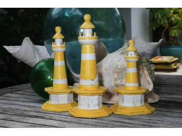 Set Of 3 Lighthouses Rustic Yellow Nautical Nautical Decor