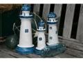 Set Of 3 Lighthouses Rustic Blue White Nautical Nautical Decor