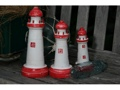 Set Of 3 Lighthouses Rustic Red White Nautical Nautical Decor
