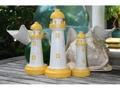 Set Of 3 Lighthouses Rustic Yellow White Nautical Nautical Decor