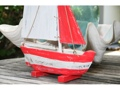 Sail Boat Red Coastal 16 Hand Carved Coastal Decor