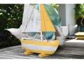 Sail Boat Yellow Coastal 16 Hand Carved Coastal Decor