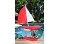 Racing Sail Boat Red Nautical 20 Hand Carved Coastal Decor