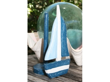 Sailboat Paper Towel Holder Blue 16 Nautical Decor