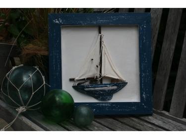 Framed Sail Boat Blue Coastal 16 Hand Carved Nautical Decor