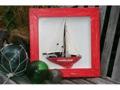 Framed Sail Boat Red Coastal 16 Hand Carved Nautical Decor