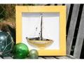 Framed Sail Boat Yellow Coastal 16 Hand Carved Nautical Decor