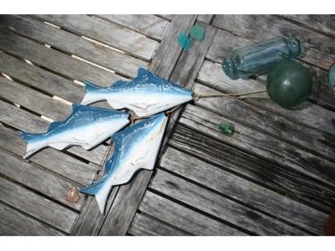 Hanging Fish Set Of 3 Blue Coastal Nautical Decor