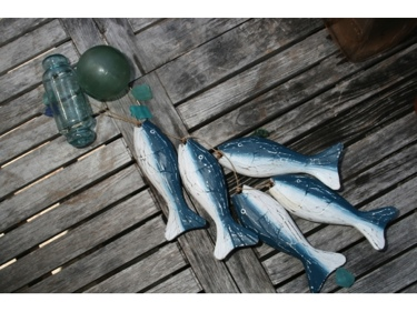 Hanging Fish Set Of 5 Blue Coastal Coastal Decor