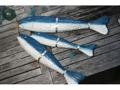 Hanging Large Fish W Net Set Of 3 Blue Coastal Nautical Decor