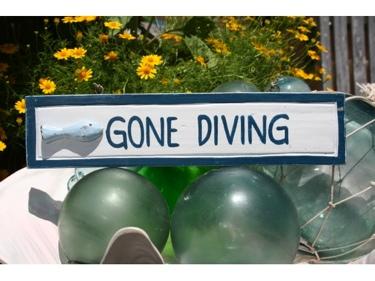 Gone Diving Nautical Sign 12 Blue Beach Decor