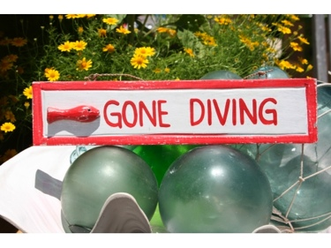 Gone Diving Nautical Sign 12 Red Beach Decor