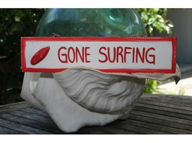Gone Surfing Nautical Sign 12 Red Beach Decor