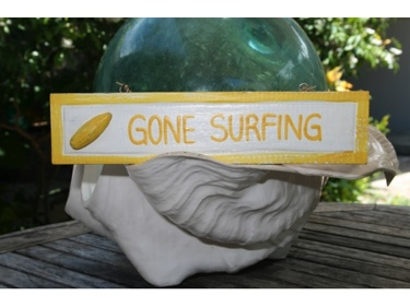Gone Surfing Nautical Sign 12 Yellow Beach Decor