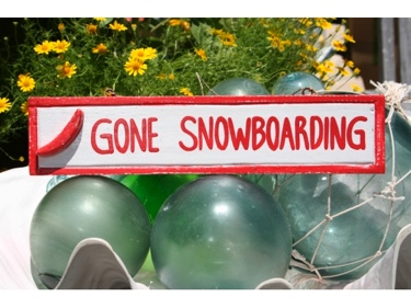 Gone Snowboarding Nautical Sign 12 Red Beach Decor