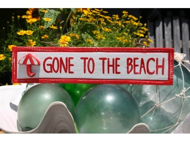 Gone To The Beach Nautical Sign 12 Red Beach Decor