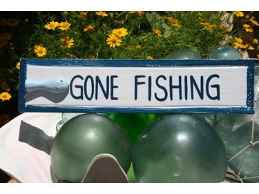 Gone Fishing Nautical Sign 12 Blue Beach Decor