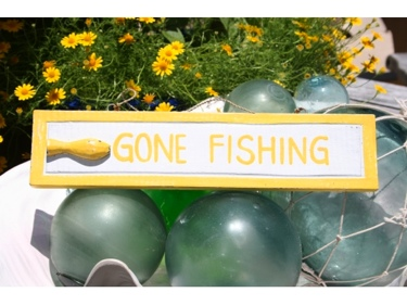Gone Fishing Nautical Sign 12 Yellow Beach Decor