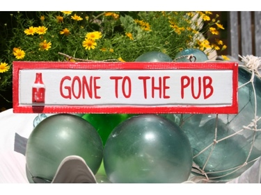 Gone To The Pub Nautical Sign 12 Red Nautical Decor