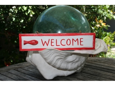 Welcome Nautical Sign 12 Red Beach Decor