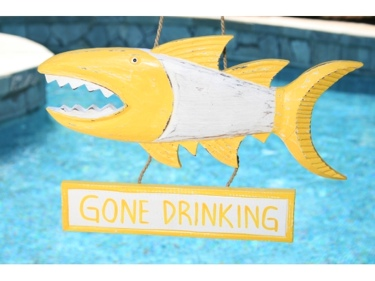 Gone Drinking Shark Attack Sign 15 Yellow Nautical Decor