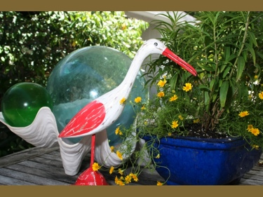 Egret Bird Rustic Red Coastal 14 Garden Home Decor