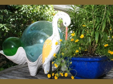 Egret Bird Rustic Yellow Coastal 14 Garden Home Decor