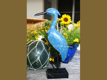 Heron Bird Rustic Blue Coastal 14 Garden Home Decor